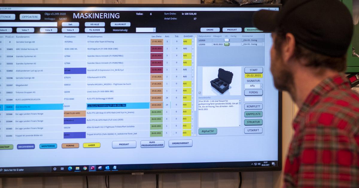 Software-programmet «Olga» gir de ansatte på Rufo full oversikt over produksjonen.